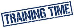 Training time blue grunge square vintage rubber stamp Stock Illustration