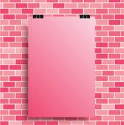 A pink poster on a pink wall. EPS 10. Stock Illustration