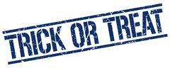 Trick or treat blue grunge square vintage rubber stamp Stock Illustration