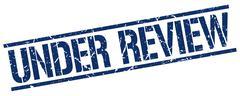 Under review blue grunge square vintage rubber stamp Stock Illustration
