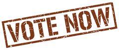 vote now brown grunge square vintage rubber stamp - stock illustration