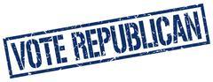 vote republican blue grunge square vintage rubber stamp - stock illustration