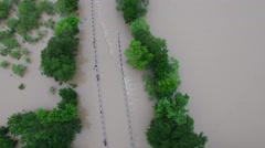 Aerial Footage - Maha Creek Flooding Over Roadway Stock Footage