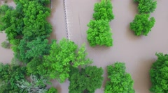 Aerial Footage - Straight Down View of Flooding Stock Footage