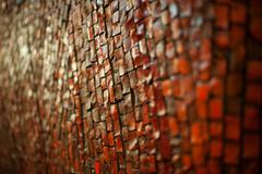 Texture of red brick road for walking in park Stock Photos