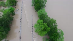 Aerial Footage - Flood Waters Over Roadway Stock Footage