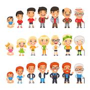 Three Characters Aging Set - stock illustration