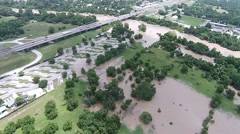 Aerial Footage - KOA Flooding Bastrop TX Stock Footage