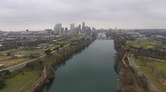 Aerial Footage - Hazy Skies Downtown Austin, TX - stock footage