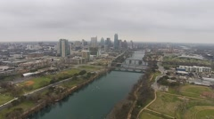 Aerial Footage - Cloudy Skies in Downtown Austin, TX - stock footage