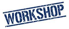 workshop blue grunge square vintage rubber stamp - stock illustration