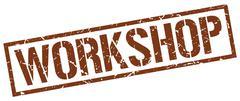 workshop brown grunge square vintage rubber stamp - stock illustration