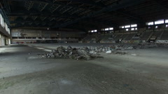 Abandoned Ice Arena And Tribune Stock Footage