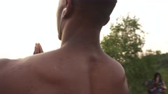 Close-up of african american body builder with prayer hands practising yoga on Stock Footage