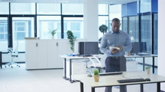 4K Business people in modern corporate office using interactive touch screen Stock Footage