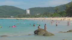 Azure waves rolled on the sand of Karon Beach - stock footage