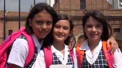School Children Girl Friends Stock Footage