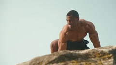 Close-up of handsome black african american man bodybuilder with naked torso - stock footage