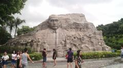 Mr Sun Zhongshan's stone statue Stock Footage