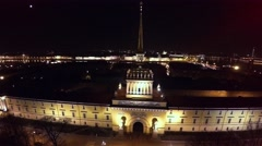Aerial view. The Admiralty Building in St. Petersburg. Night. Аerial shot. 4K. - stock footage
