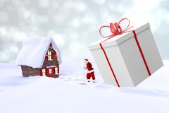 Composite image of Santa is bringing a gift in a white background Stock Illustration