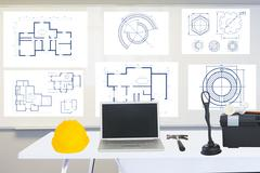 Composite image of site manager office Stock Illustration