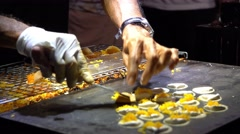 Night Market - Asian Night Market Footage. Merchants Cooking Exotic Meals. - stock footage