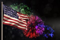 Composite image of american flag is fluttering - stock illustration