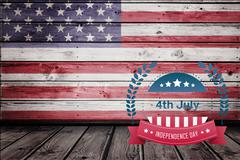 Composite image of american independence day with a wooden background Stock Illustration