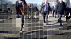 Digitized commuters on London Bridge. Stock Footage