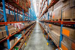 High angle view of empty aisle in warehouse Stock Photos