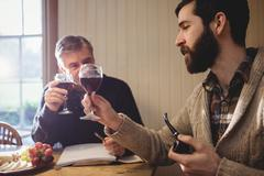 Hipster and mature man examining red wine in country house Stock Photos