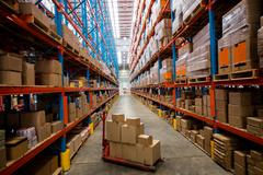High angle view of warehouse aisle with no people Stock Photos