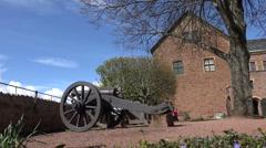 Wartburg Castle: Commandant's garden with historic canon, Eisenach, Germany Stock Footage