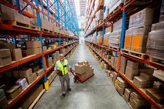 Warehouse worker pulling a warehouse isle in a warehouse Stock Photos