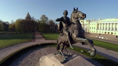Aerial view. Bronze Horseman, a monument to Peter I in St. Petersburg. 4K. Stock Footage