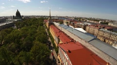 Aerial view. The Admiralty Building in St. Petersburg. Аerial shot. 4K. - stock footage