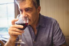 Concentrated mature man tasting red wine in his country house Stock Photos