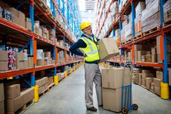 Worker with backache while carrying box in warehouse Stock Photos