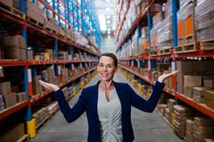 Half length of warehouse manager in the aisle Stock Photos