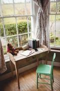 An empty desk room in country house Stock Photos