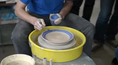 Pottery potter's wheel clay  Stock Footage