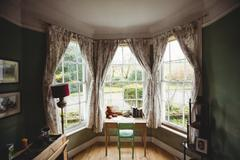 Front of an empty room in country house Stock Photos