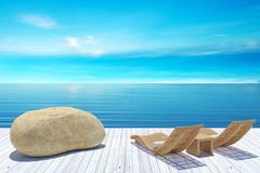 Beach lounge, sundeck over blue sea and sky, summer holiday vacation concept - stock illustration