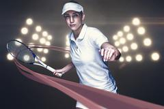 Female athlete playing tennis against digitally generated image of spotlight Stock Photos