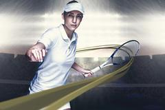 Composite image of female athlete playing tennis - stock photo