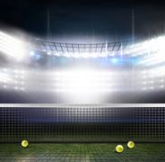 Composite image of a tennis net against american football arena - stock illustration