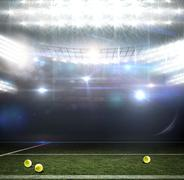 Digitally generated image of field against american football arena - stock illustration