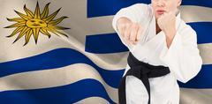 Composite image of female athlete practicing judo Kuvituskuvat