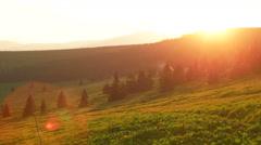 Sun Setting Down Behind Snezka Mountains Stock Footage
